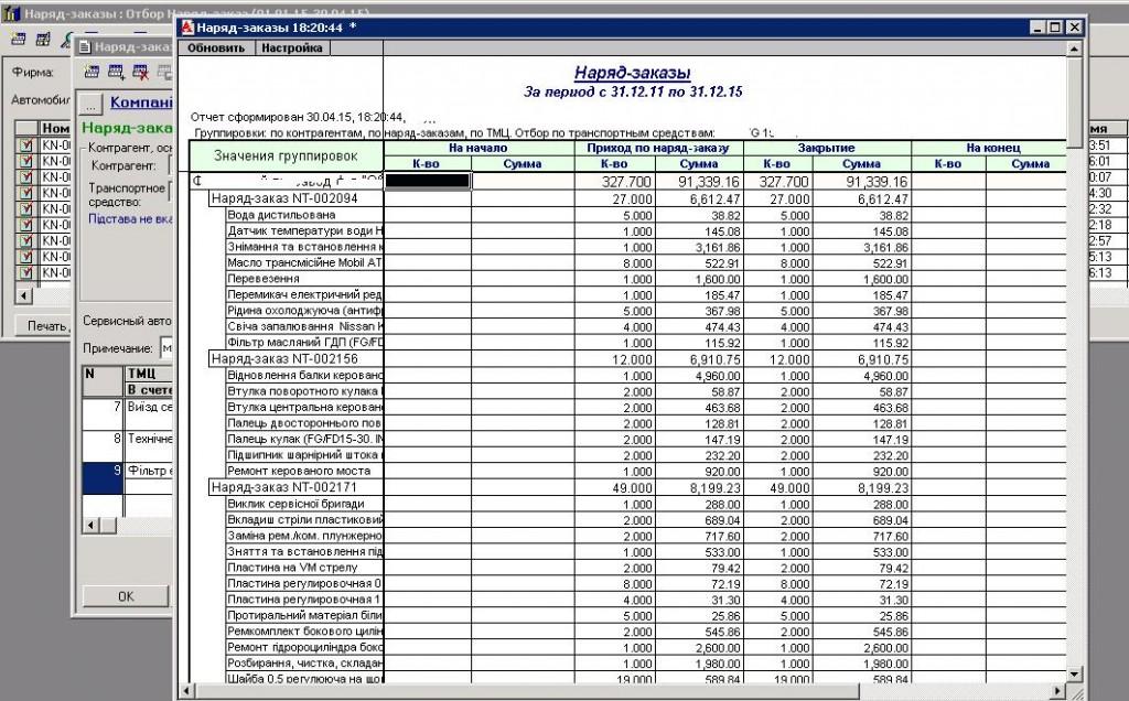 Рис. 4. Отчет по наряд-заказам с отбором по транспортному средству, с детализацией до наряд-заказов и номенклатуры