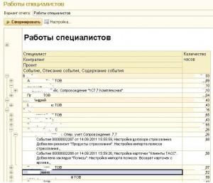 Рис.4. Форма отчета «Работы специалистов»