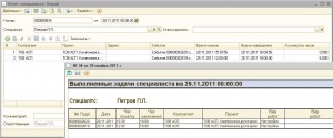 Рис.8. Форма документа «Отчет специалиста». Печатная форма отчета.